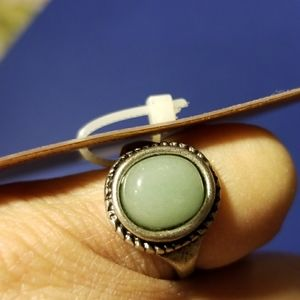 Green Stone, Silver Ring.